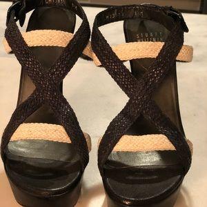 Stuart Weitzman black & white wovenplatform sandal
